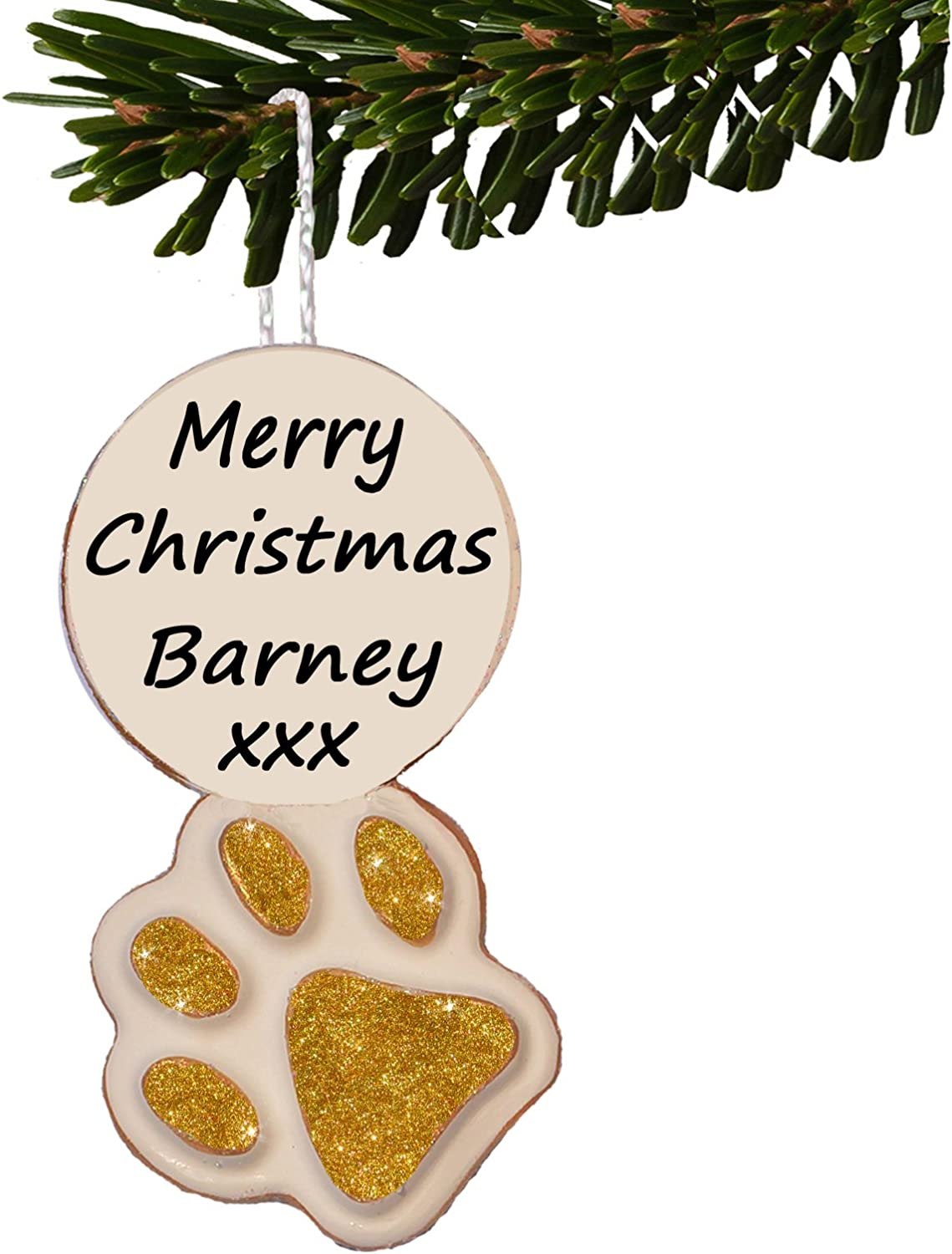 Personalised Dogs Puppys 1st First Christmas Paw Decoration Bauble Gifts Box