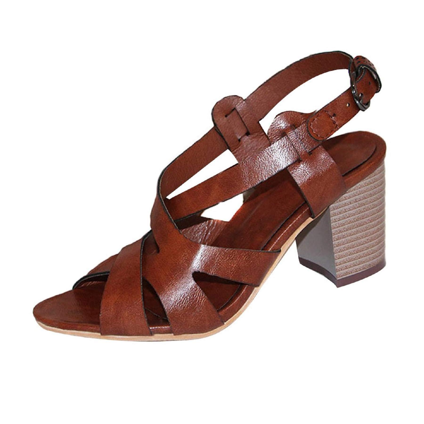 LEEDFORD Women's Open Toes Mid Chunky Heels Pumps Platform Crisscross Dress Sandals,Casual Summer Beach Gladiator Sandals Brown