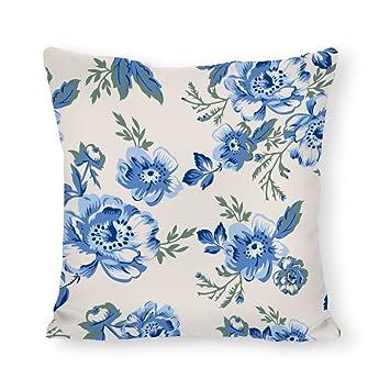 Coussin siege Articles pour la décoration intérieure de la maison Coussin Housse Taie D'oreiller Motif Coussin Floral Hibiskus Canvas-tissu