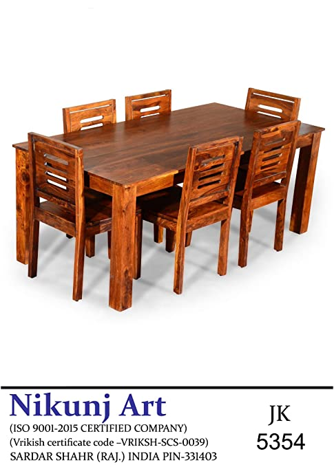 Nikunj Sheesham Wood Six Seater Dining Table Set for Home Living Room- Brown