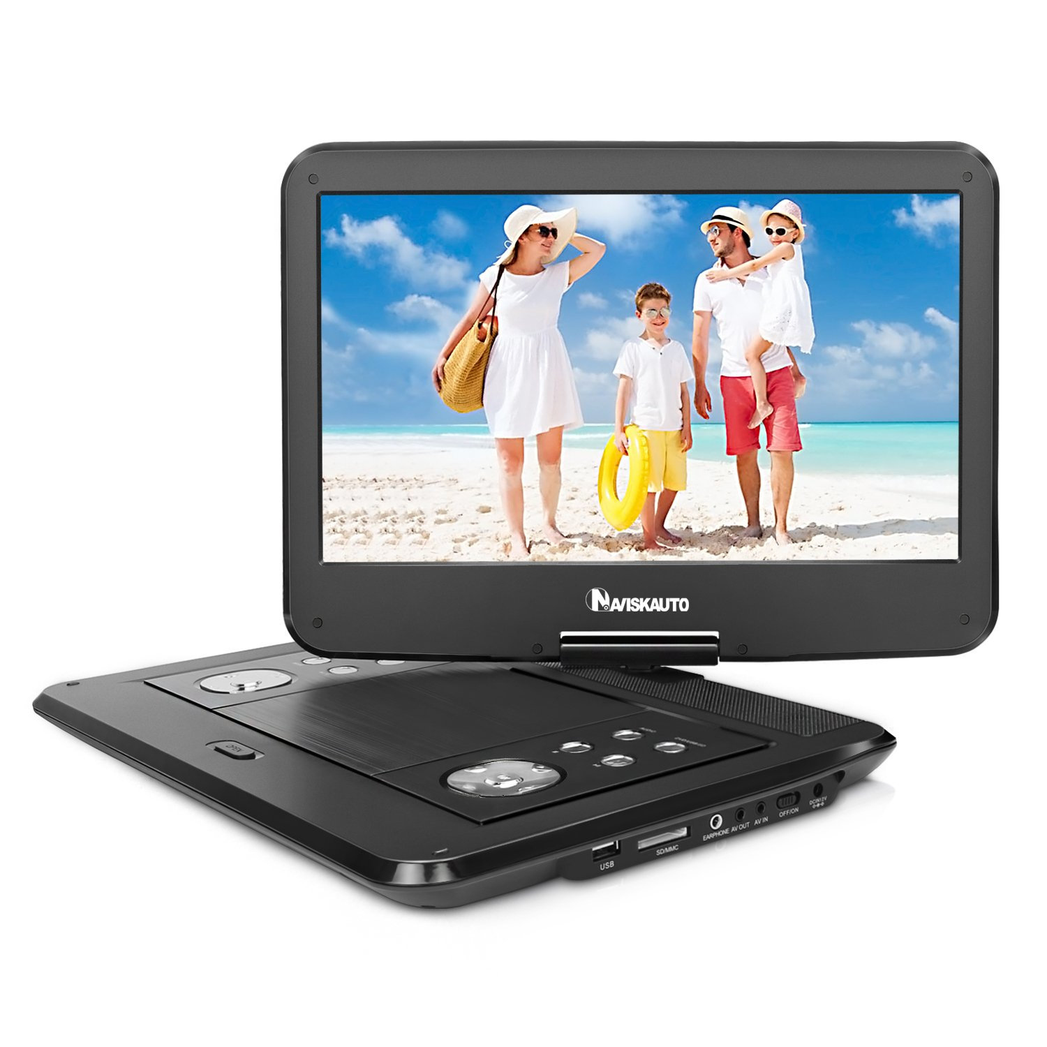 NAVISKAUTO 14 inch HD Portable DVD/CD Player USB/SD Reader with HD 1366x768 Digital TFT 270° Swivel Screen, 5-Hour Built-In Rechargeable Battery, 3m AC/DC Adapter and Carrying Case-Black (14 inches) by NaviSkauto