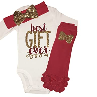 923bc06268c9 Amazon.com  Simply Swanky Baby Girl My First Christmas Day Outfit ...