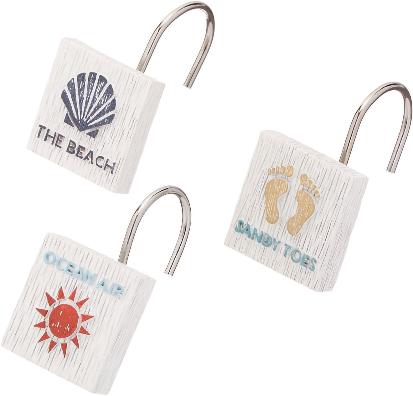 Avanti Linens Beach Words Shower Hooks, Multicolor