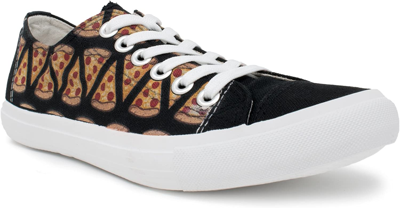 Ann Arbor T-shirt Co. Pizza Sneakers | Cute Fun Pepperoni Food Foodie Trainer Tennis Shoe - Women Men