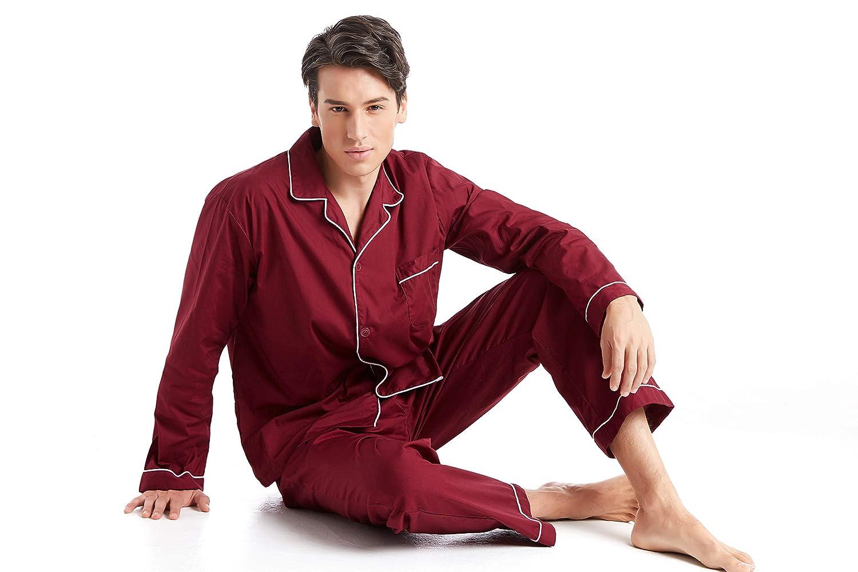Long Sleeve Button-Down Woven Sleepwear TONY AND CANDICE Men/'s Cotton Pajama Set