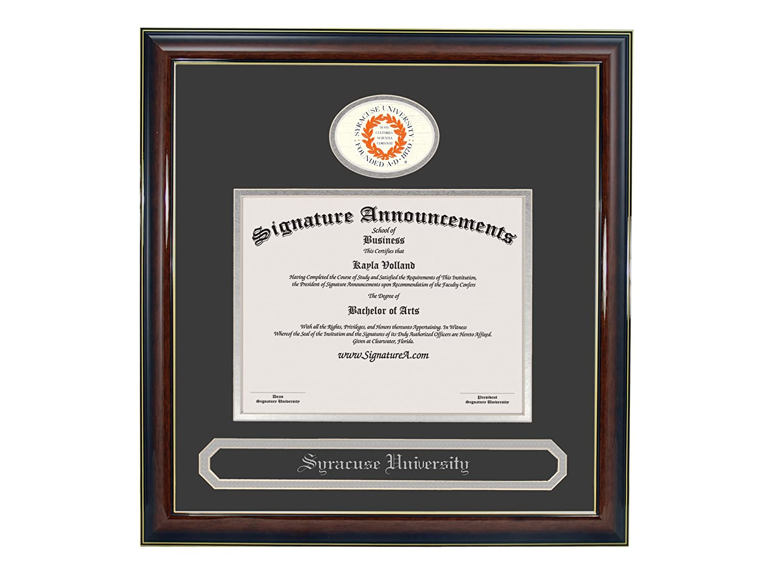 Signature Announcements Syracuse-University Undergraduate Sculpted Foil Seal /& Name Graduation Diploma Frame 16 x 16 Gold Accent Gloss Mahogany