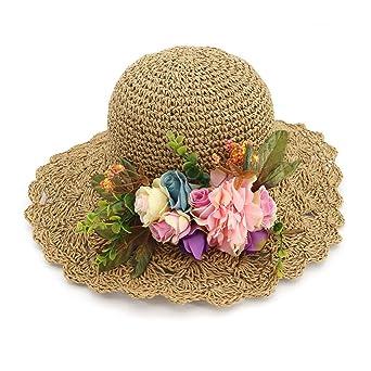 Zhhlaixing Gorra de Sol del Sombrero de Paja de Las Mujeres Summer Beach  Beach Flor Decoración Sombreros Plegables para Travel and Holiday   Amazon.es  Ropa ... fdb203e9a21