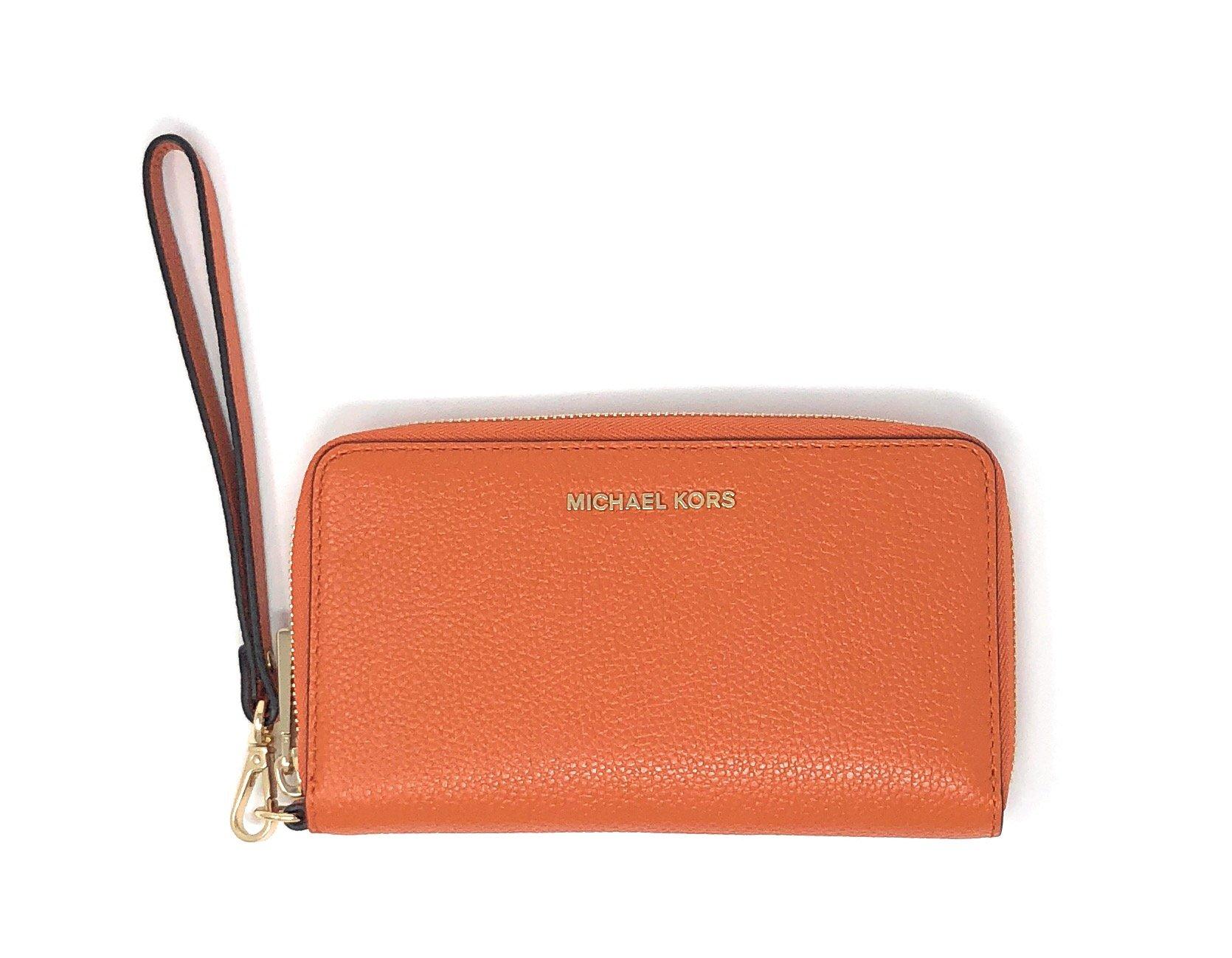 Michael Kors Women's Jet Set Travel Large Smartphone Wristlet (Tangerine Leather)