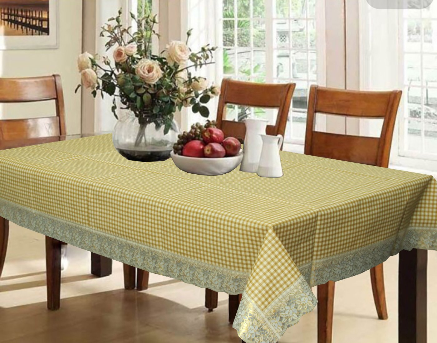 Kuber Industries Light Brown Checkered Design Waterproof Dining Table Cover 6 Seater (6090 inches)