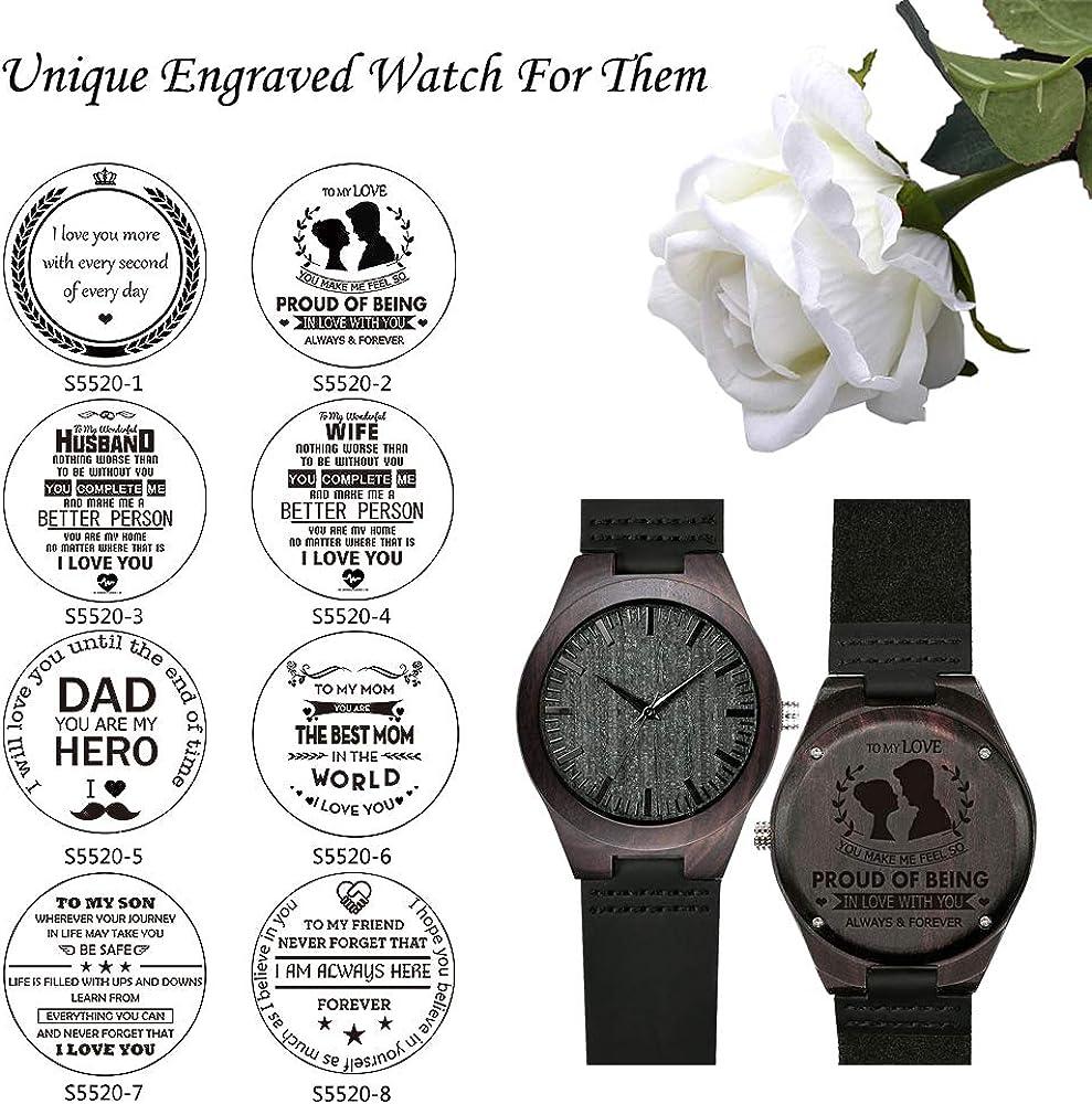 Amazon.com: Reloj de madera grabado, reloj de madera grabada ...
