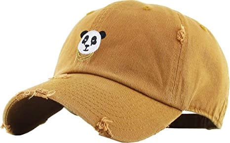 f57f2ff5437 Image Unavailable. Image not available for. Colour  KBSV-056 Tim Panda Vintage  Distressed Dad Hat Baseball Cap Polo Style