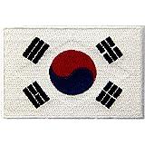 韓国 国旗 紋章 韓国語 アップリケ 刺繍入りアイロン貼り付け/縫い付けワッペン