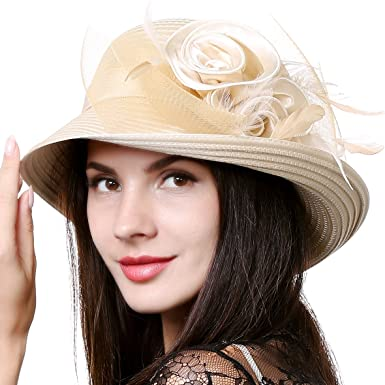 51d9e78d Women Kentucky Derby Dress Church Wedding Party Feather Bucket Hat S608-A  (Apricot)