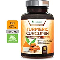 Turmeric Curcumin Max Potency 95% Curcuminoids 1950mg with Bioperine Black Pepper for Best Absorption, Made in USA, Anti-Inflammatory Joint Relief, Turmeric Pills by Natures Nutrition - 180 Capsules