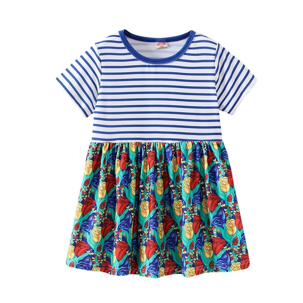 2019 New! Toddler Kids Baby Girl Dresses,Summer Cute Cartoon Print Princess Striped Dress Sundress Outfits