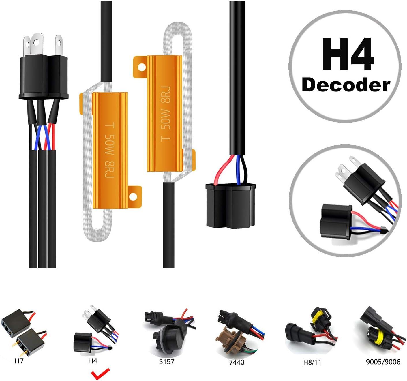 HOCOLO/_2pcs H4-Resistor Decoder HOCOLO H4 9003 HB2 LED Resistor Kit Relay Harness Adapter Anti Flicker Error Decoder Warning Canceller