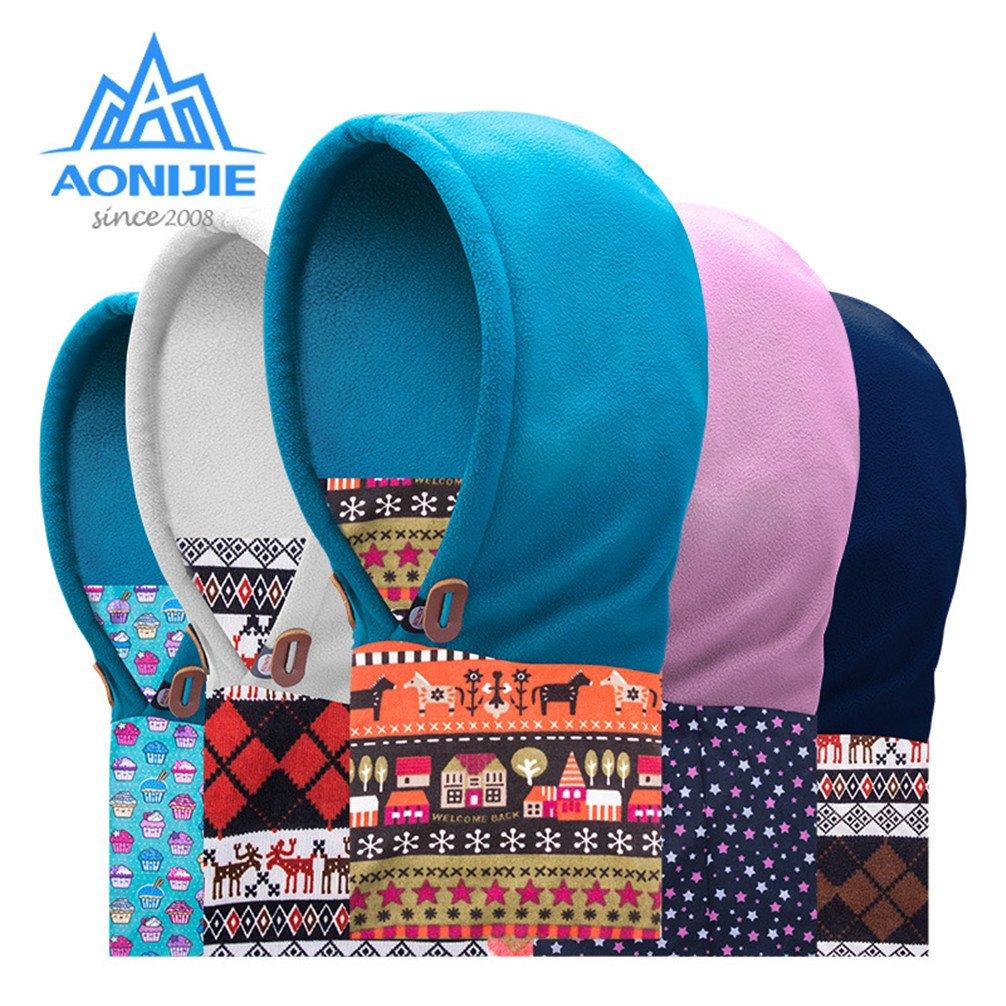 AONIJIE Niños (3-12 año)  Multiusos Pasamontañas, uso térmico, forro polar con capucha, Máscara, para Actividades de Invierno al aire libre (Azul claro): ...