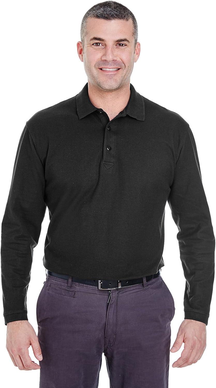 UltraClub Men's Long Sleeve Whisper Piqué Polo