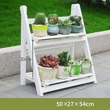 estantes para plantas Flower Stand / 3 Tier plegable de madera Stand Flower Plant Pot Display Shelf escalera jardín al aire libre (Tamaño : 50*27*54cm) : Amazon.es: Hogar
