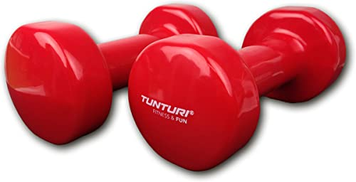 TUNTURI Vinyl Dumbells 6 LB, Red, Pair