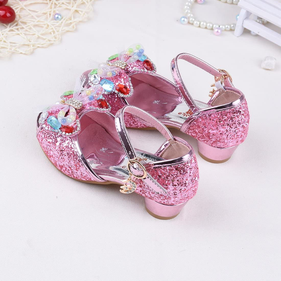 HBOS Butterfly Wings High Heel Sandals Summer Open Toe Princess Ankle Shoes Child Baby Girls