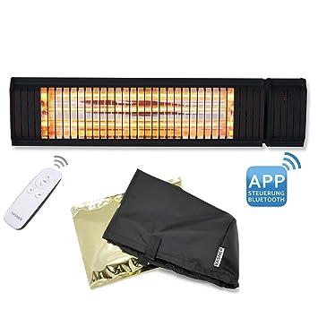 vasner calefactor de infrarrojos appino 20 Negro, 2000 W, Terraza con campana aircape para exteriores, mando a distancia, aplicación de distancia: ...