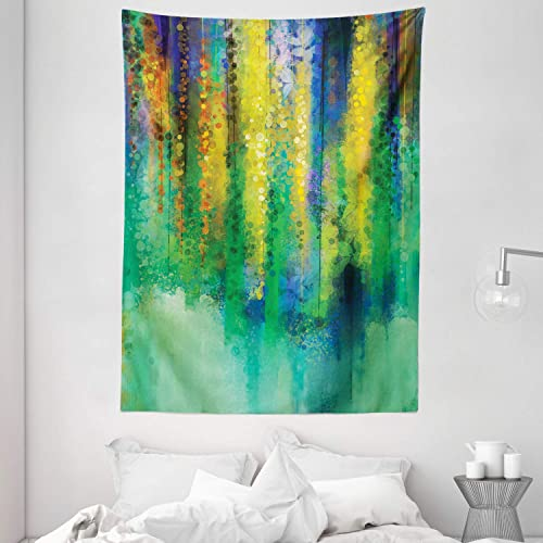 Ambesonne Watercolor Flower Tapestry, Abstract Style Spring Floral Watercolor Style Painting Image Nature Art, Wall Hanging for Bedroom Living Room Dorm, 60 X 80 , Green Yellow