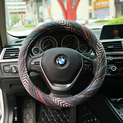 LSAUTO 15inch Steering Wheel Cover Ethnic Style Baja Blanket Universal Fit with Memory Foam Ultra-Soft Car Wrap¡SWC05: Automotive