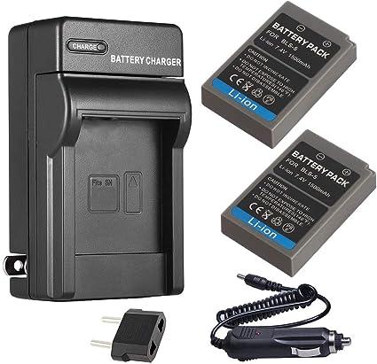 Batería (2-Pack) y cargador para Olympus BLS-5, BLS-50, PS-BLS5 iones de litio batería: Amazon.es: Electrónica