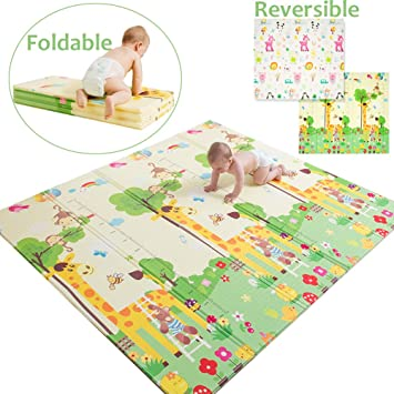 Baby Room Crawling Pad Forest Friends Waterproof and Anti Slip Safe | NONTOXIC 58in x 78in Luxury Folding Baby XPE Floor Play Mat