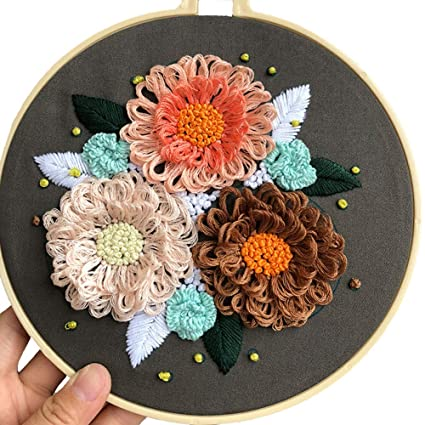 GUVVEAZ Full Set of Embroidery Starter Kit Plastic Hoop,Color Floss,Tools Kit 7.9 Potted Plant Hand-Made Cross Stitch Kits for Beginners Including Patterned Embroidery Cloth