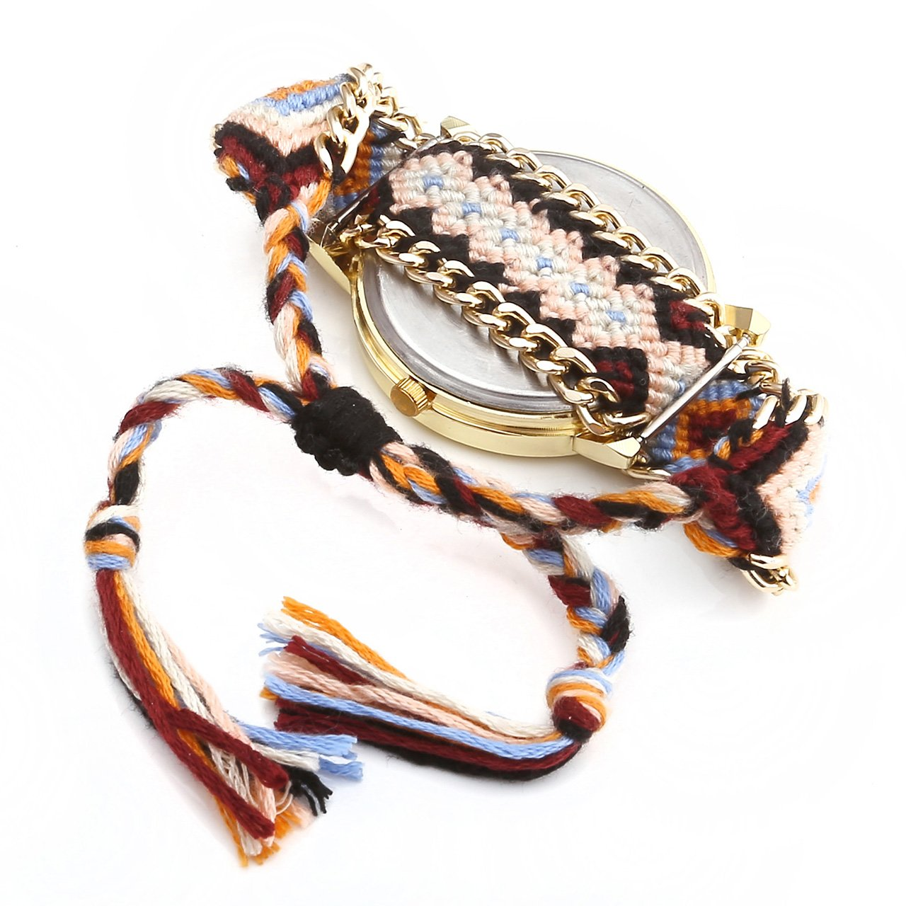 JSDDE 1PC Femmes Motif éléphant Corde Tissé Band Bracelet Quartz Composer Montre Orange