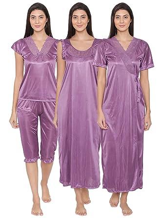 1ad61d633f Clovia Women s 4 Pcs Satin Nightwear In Purple (NSM236G12 Purple Free Size)
