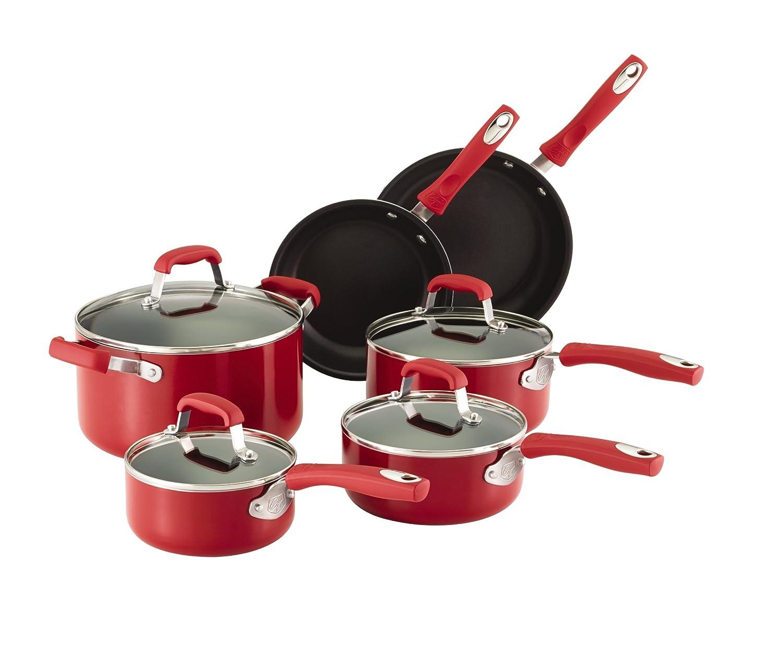 Amazon Com Guy Fieri 10 Piece Nonstick Cookware Set Red Kitchen Dining