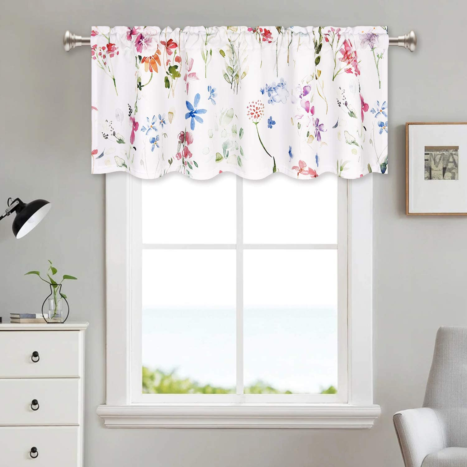 Floral Valance Window Curtains Watercolor Flower Kitchen Curtains 52 X 18 Inches Rod Pocket Curtains Home Decoration Kitchen Dining