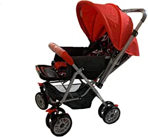 Baby Stroller Multi adjustable for unisex Black and Red