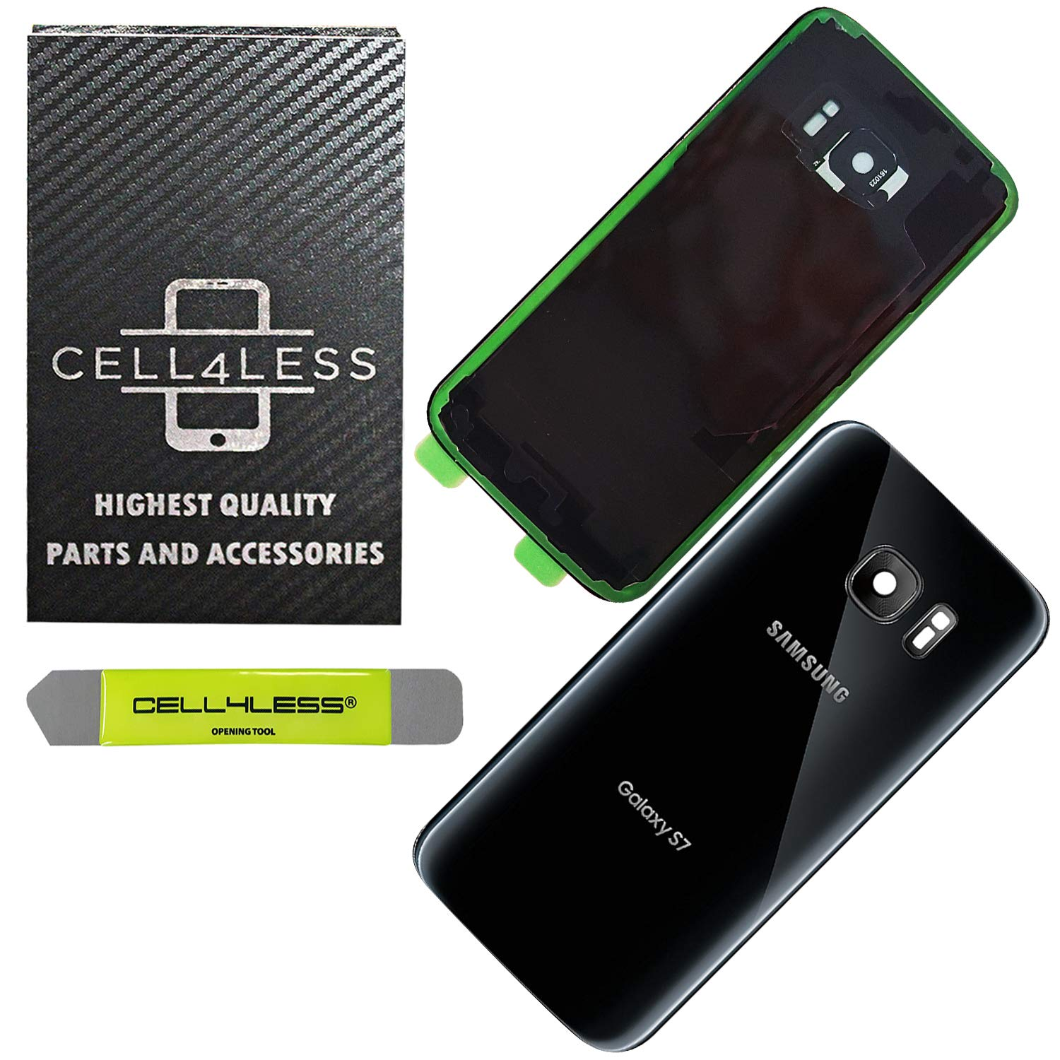 CELL4LESS Compatible Back Glass Cover Back Door w/Installed Camera Lens, Custom Removal Tool & Installed Adhesive Replacement for Samsung Galaxy S7 - All Models G930 - OEM Replacement (Black)