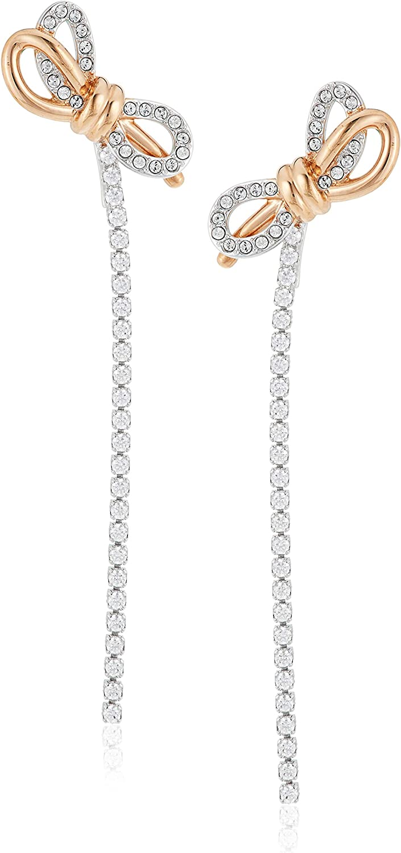 Swarovski Pendientes Lifelong Bow, blanco, Combinación de acabados metálicos