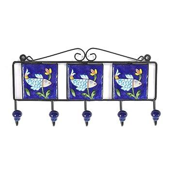 Azul cerámica decorativa de cerámica Art gamuza de ganchos ...