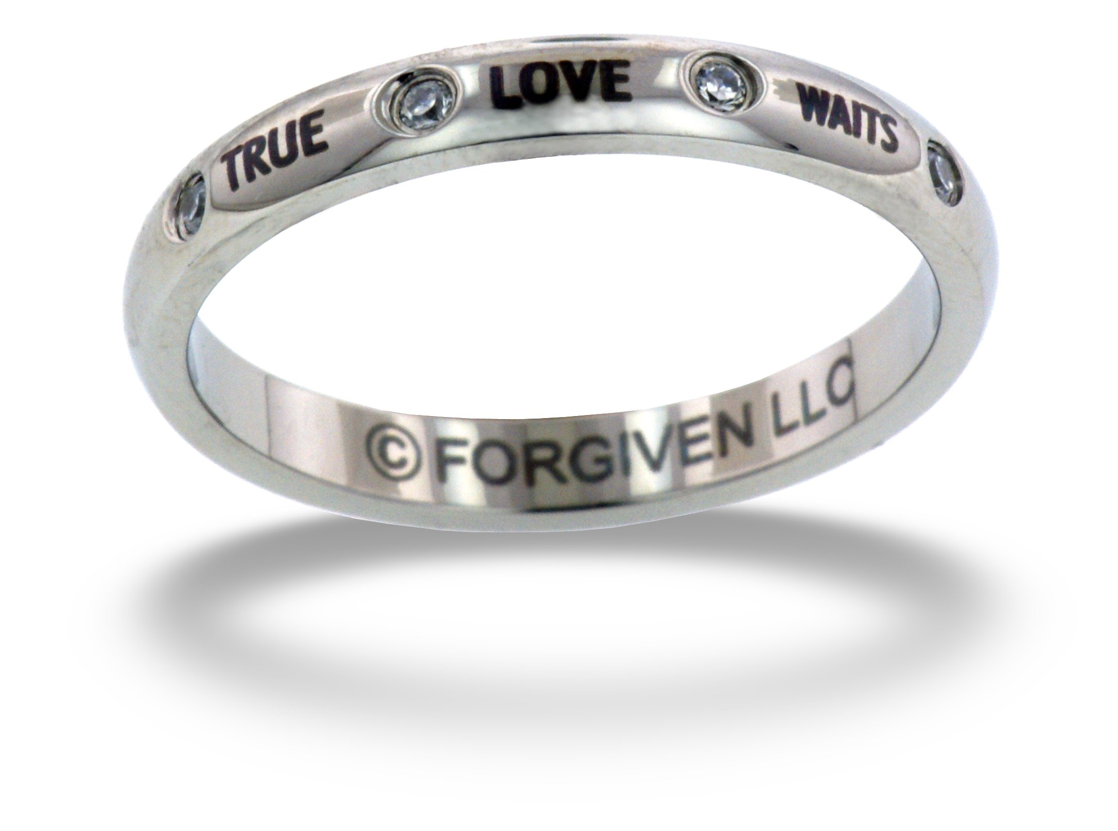 RTLWA-TRUE LOVE WAITS Crystal Purity Band Stainless Steel Ring size 10-Christian Jewelry by Forgiven Jewelry (Image #1)