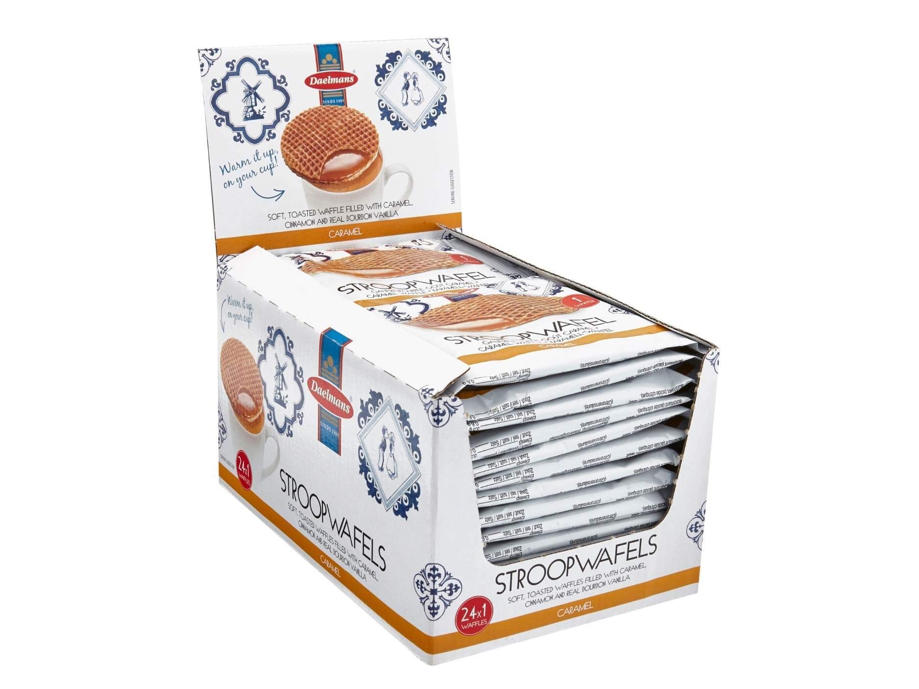 DAELMANS Stroopwafels, Dutch Waffles Soft Toasted, Caramel, Office Snack, Jumbo Size, Kosher Dairy, Authentic Made In Holland, 24 1-pack Stroopwafels Per Box, 1.38oz each