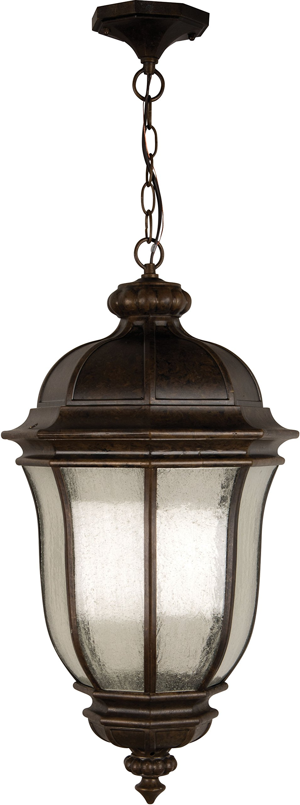 Craftmade Z3321-112 Hanging Lantern with Clear Seeded Glass Shades, Peruvian Bronze Finish