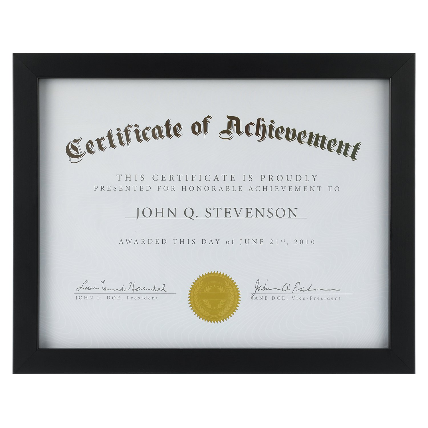 ONE WALL Tempered Glass Picture Frame Black 8.5x11 Documents Certificate Diploma Without Mat by ONE WALL