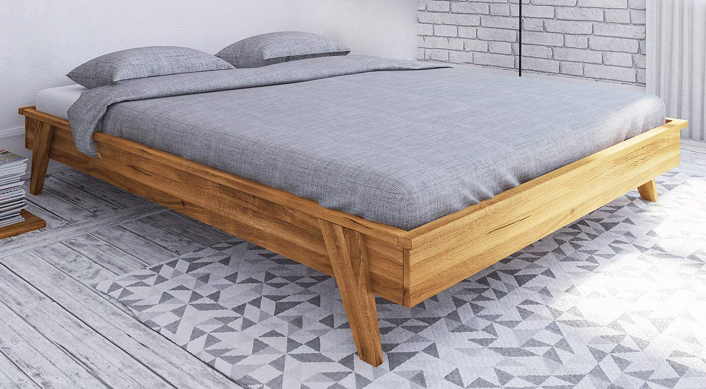 Einzelbett/Gästebett Otago 03 Wildeiche massiv geölt - Liegefläche: 90 x 200 cm (B x L)