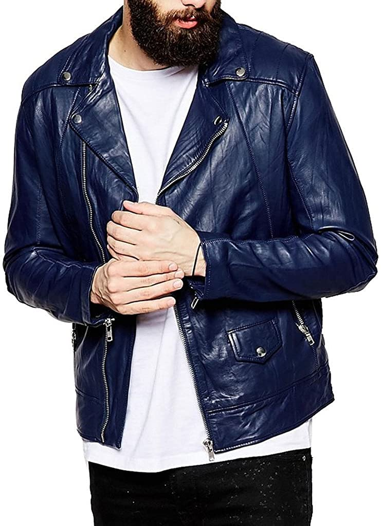 New Mens Leather Motorcycle Jacket Slim Fit Leather Coats LF599
