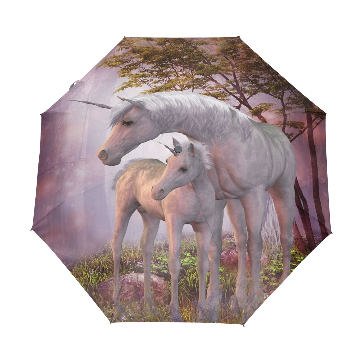 Naanle Unicorns Peaceful Magical Forest Auto Open Close Foldable Windproof Umbrella   B075JFW1RB