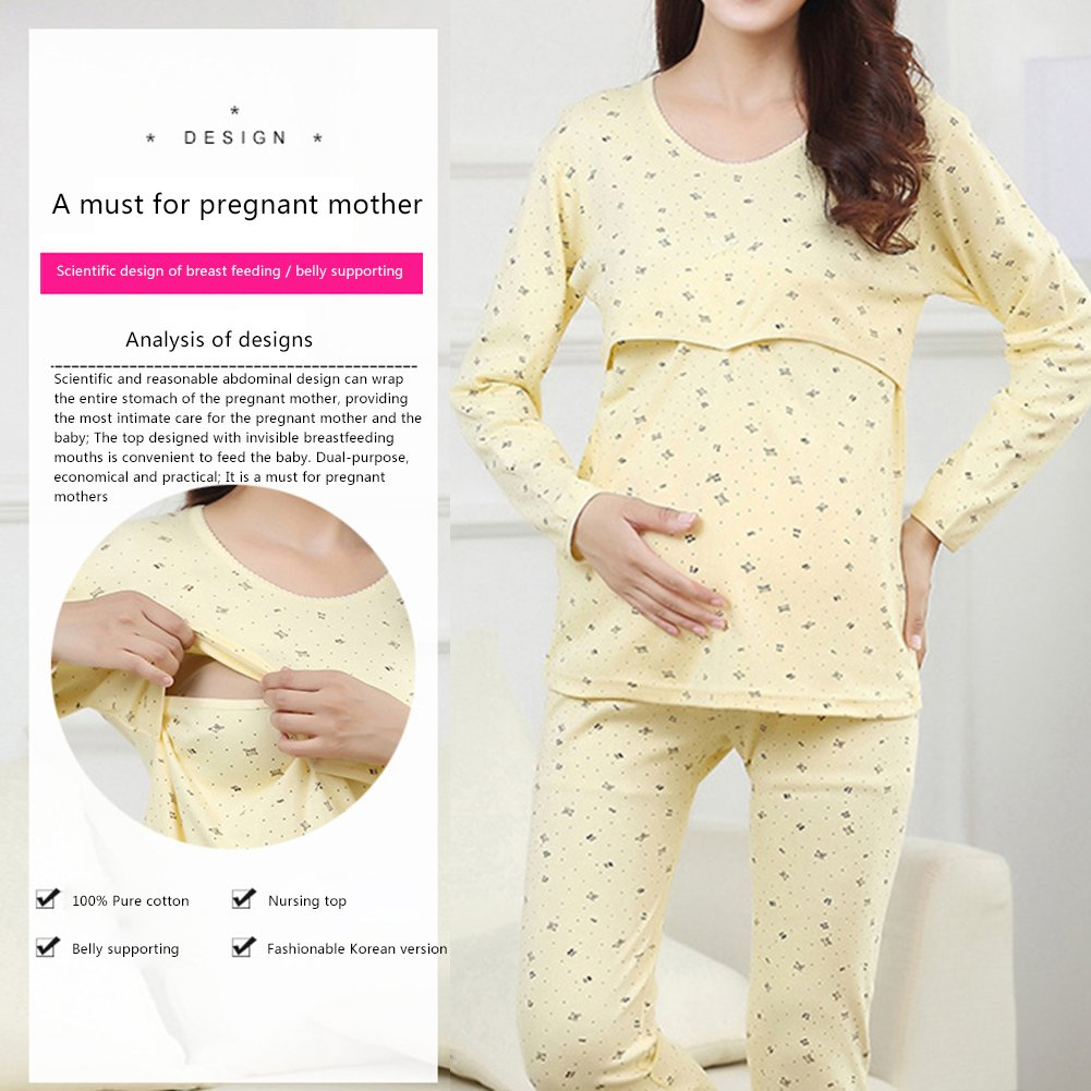 a6b67cef4 Samber Pijamas Mujer Embarazada Primavera Pijamas Puro Algodón para  Primavera Verano y Otoño Ropa de Dormitorio para Mujer de Maternidad   Amazon.es  Ropa y ...