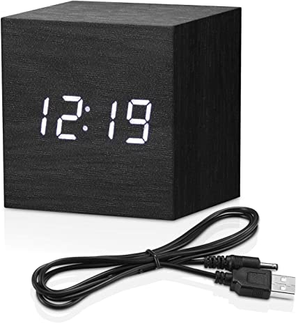 Modern LED Square Bedside Small Alarm Clock Voice Control Electric Clock Timer