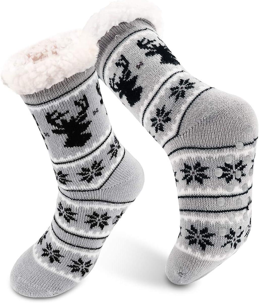 Slipper Socks, Super Soft Warm Cozy Fleece Lined Socks Non Skid Fuzzy Socks  for Women Girls Men Christmas (Grey) at Amazon Women's Clothing store