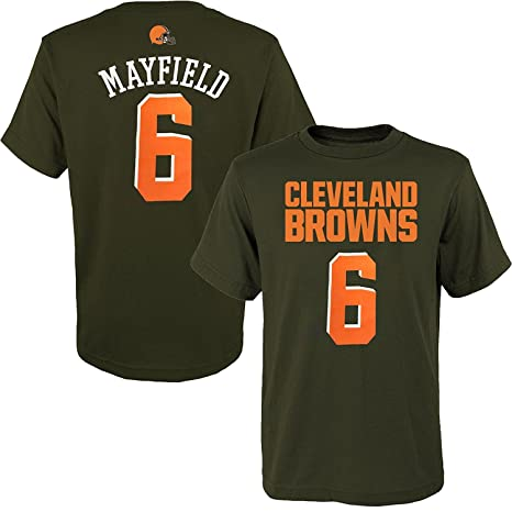 54fabc122 OuterStuff Baker Mayfield Cleveland Browns  6 Brown Youth Name   Number T- Shirt (